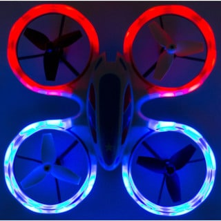 RC Mini LED Stunt Drone Quadcopter Red, Blue Sky Patroller w/ 360 Flip: Crash Proof, 2.4GHz, 4 CH