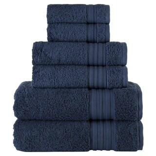 Laural Home 6 Piece Turkish Towel Set- Navy