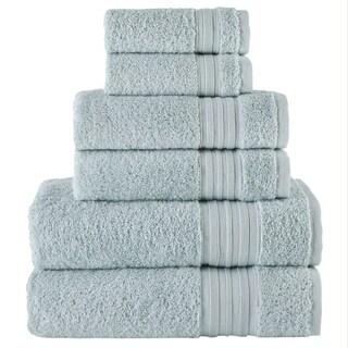 Laural Home 6 Piece Turkish Towel Set- Sea Mist