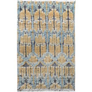 Arshs Moroccan Arya Frances Gray/Purple Wool Rug (4'0 x 6'0)