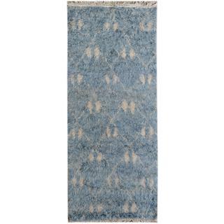 Arshs Moroccan Arya Horacio Blue/Ivory Wool Runner (2'7 x 6'6)