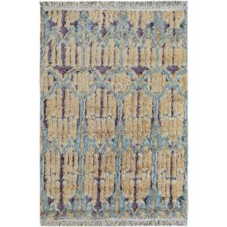 Moroccan Arya Jed Purple/Blue Wool Rug (4'1 x 5'7) - 4 ft. 1 in. x 5 ft. 7 in.