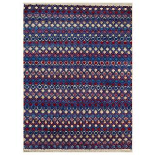 Arshs Moroccan Arya Kip Purple/Blue Wool Rug - 9' x 12'
