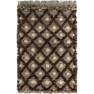 Arshs Moroccan Arya Mac Tan/Brown Wool Rug - 3'10 x 6'0