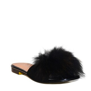 Lonia Shoes Lottie Black Faux Fur Slides