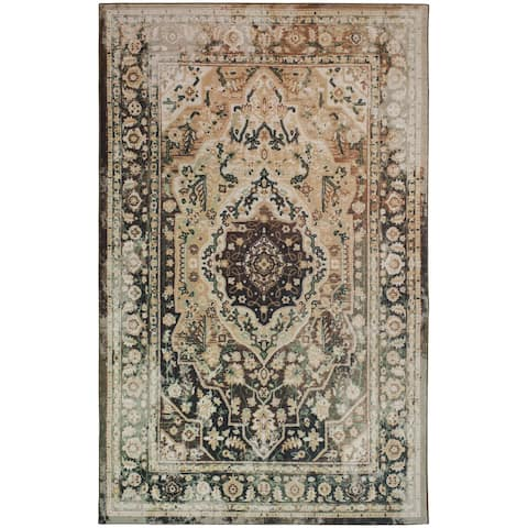 The Curated Nomad Sundarban Traditional Distressed Area Rug - 8' x 10'