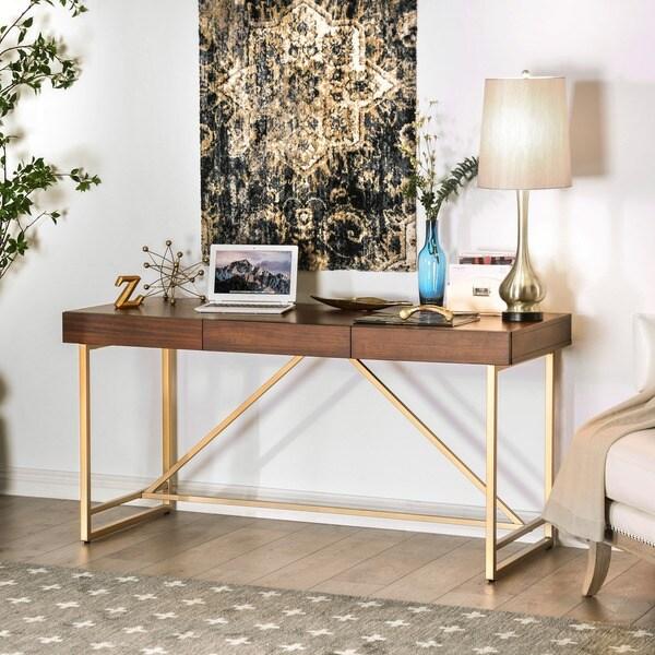 Furniture Of America Clenlil Contemporary Light Walnut Desk