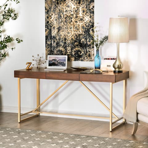 Clenlil Contemporary 60-inch Light Walnut Desk by FOA