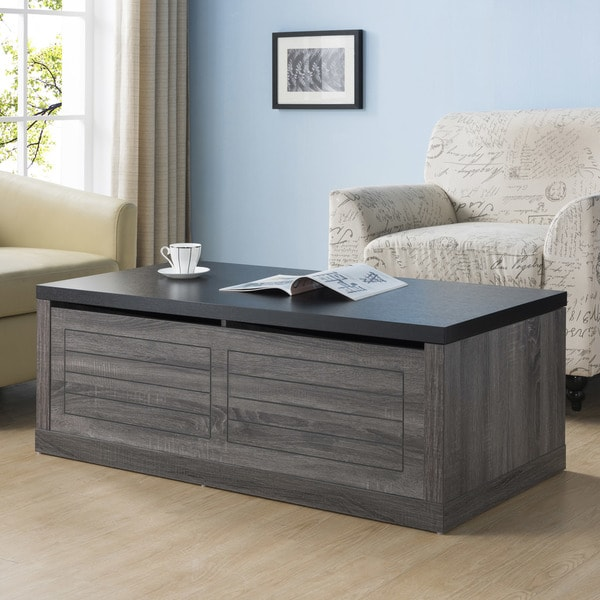 Furniture of America Retora Two-tone Distressed Grey/Black Wood Storage Coffee Table