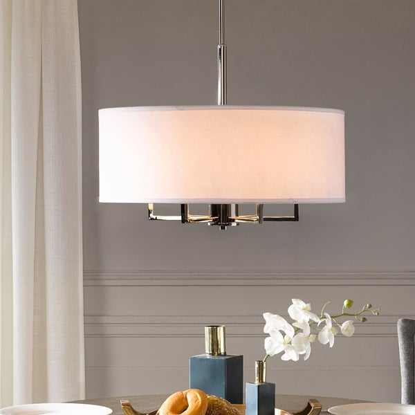 Madison Park Signature Broderick White/ Silver Chandelier