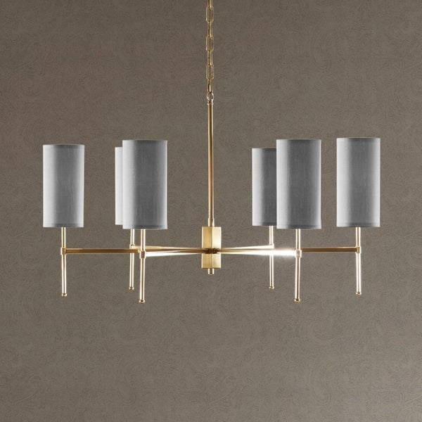 Madison Park Signature Conrad Grey/Gold Metal Chandelier With Grey Fabric Drum-shaped Shade
