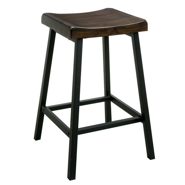 Furniture Of America Hollenbeck Rustic Medium Weathered Oak/Black Counter  Height Stool (Set Of 2)   Free Shipping Today   Overstock.com   24357029