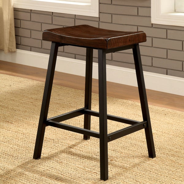 Furniture Of America Hollenbeck Rustic Medium Weathered Oak/Black Counter  Height Stool (Set Of
