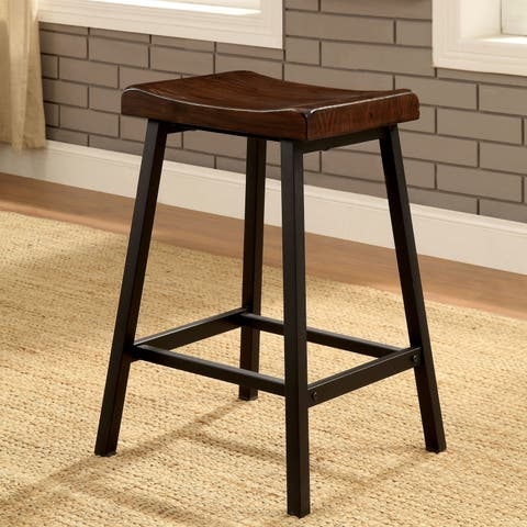 Hollenbeck Contemporary Weathered Oak Stools (Set of 2) by FOA