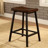 Furniture of America Hollenbeck Rustic Medium Weathered Oak/Black Counter Height Stool (Set of 2)
