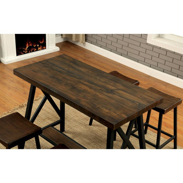 Furniture Of America Hollenbeck Rustic Medium Weathered Oak U0026 Black Counter  Height Table   Free Shipping Today   Overstock.com   24357030