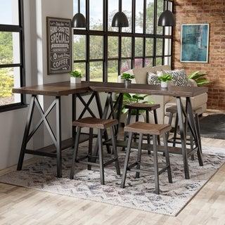 Furniture of America Mern Rustic Oak Solid Wood Counter Table