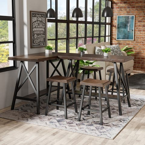 Furniture of America Mern Rustic Oak Solid Wood Counter Table