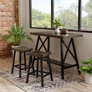 Hollenbeck Rustic Medium Weathered Oak Counter Height Table by FOA