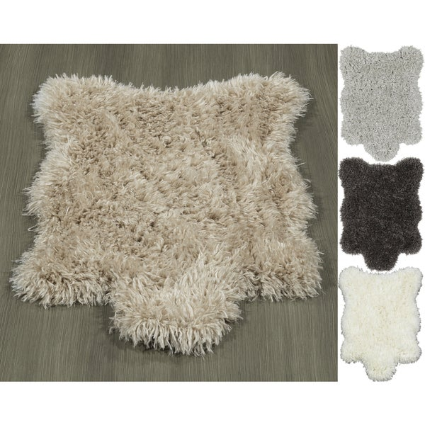 Ottomanson Pure Fuzzy Flokati Soft High Pile Faux Sheepskin Rug