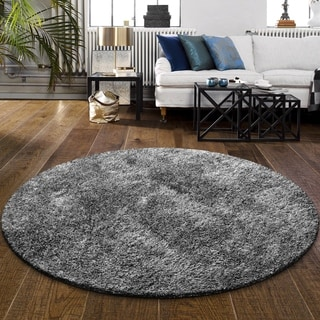 "Superior Elegant, Plush, Cozy and Hand Woven Round Shag Rug (6'6"")"