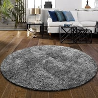 "Superior Elegant, Plush, Cozy and Hand Woven Round Shag Rug - 6' 5"" round"