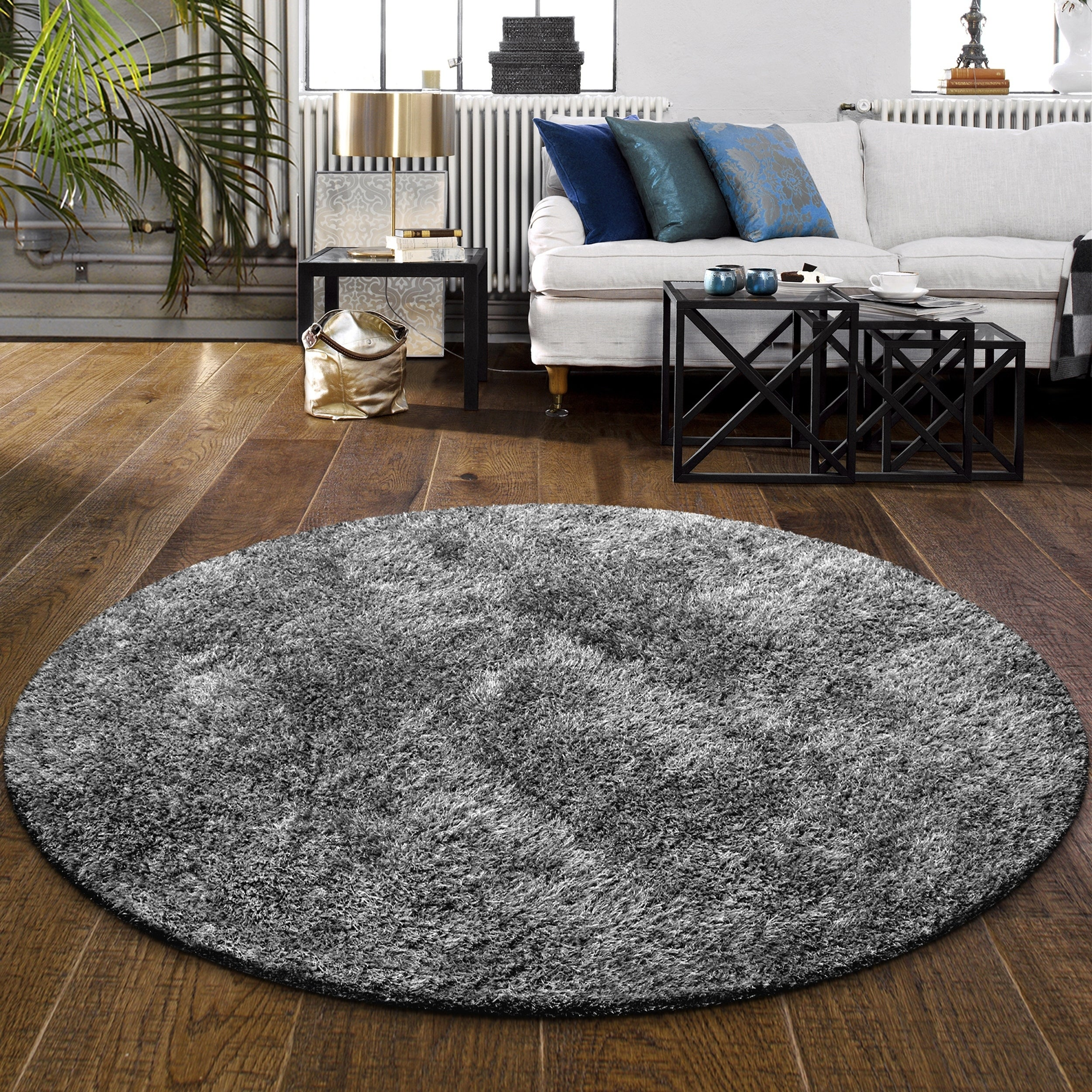 Cozy And Hand Woven Round Shag Rug