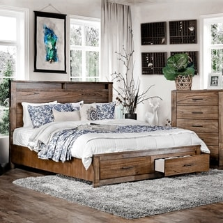 Furniture of America Casso Rustic Antique Oak Wood Platform Storage Bed