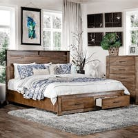 Furniture of America Casso Rustic Antique Oak Wood Platform Storage Bed