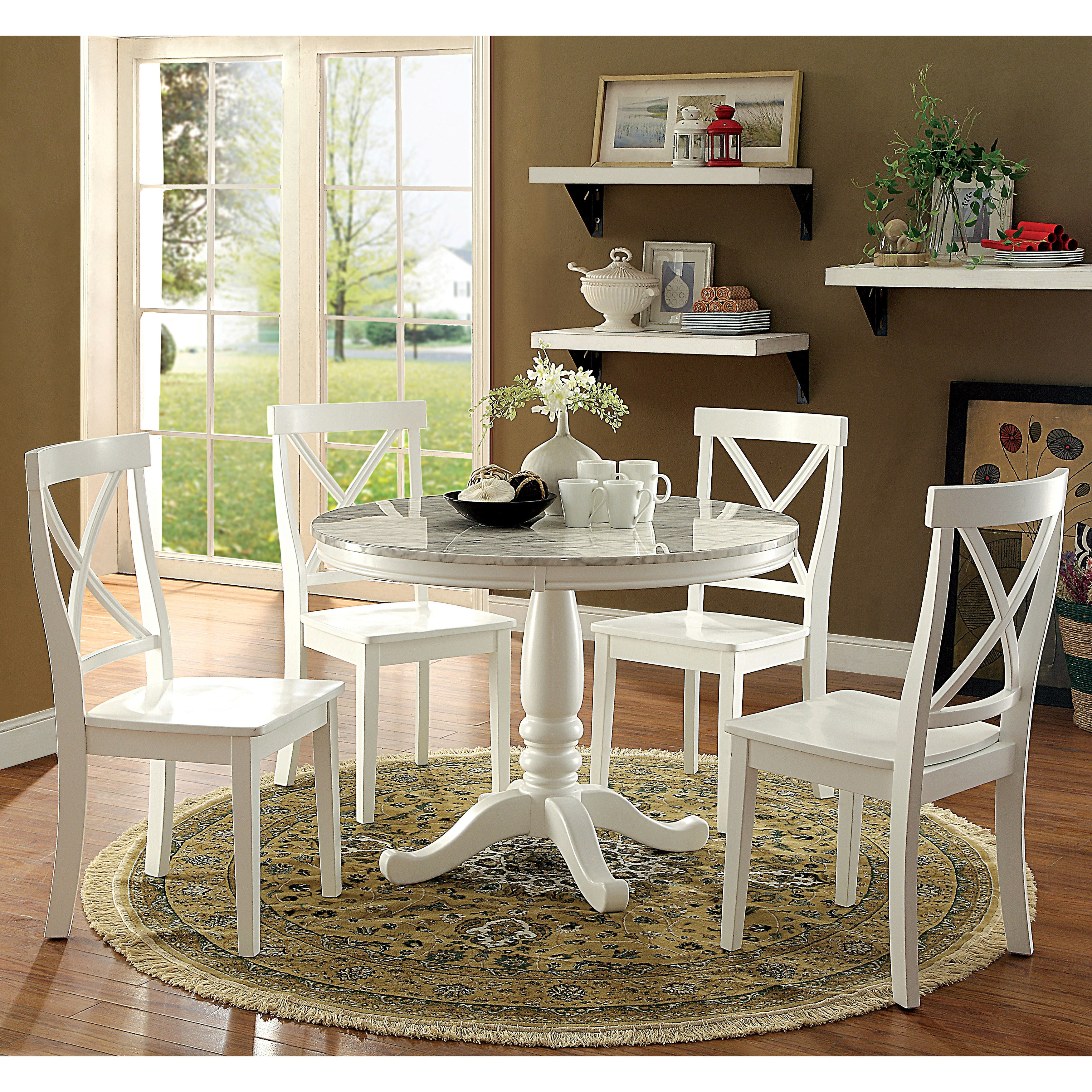 Laine Country White 5 Piece Round Dining Set By Foa