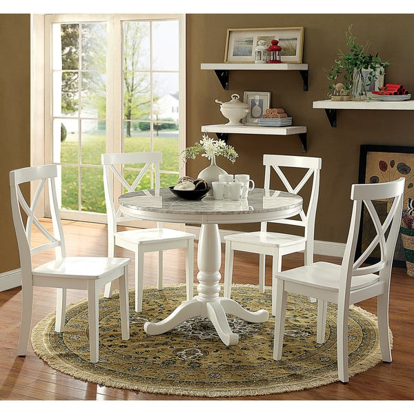 Country Kitchen Table Sets: Shop Laine Country White 5-piece Round Dining Set By FOA