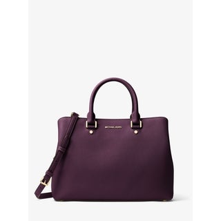 MICHAEL MICHAEL KORS Savannah Large Saffiano Leather Satchel Damson