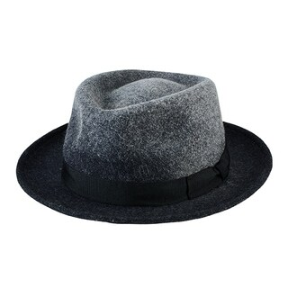 San Diego Hat Company Men's Ombre Wool Porkpie with Grosgrain Trim SDH9445 Charcoal