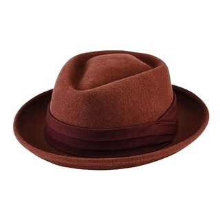 San Diego Hat Company Men's Wool Felt Porkpie with Grosgrain Trim SDH9444 Brown