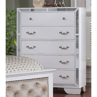 Best Quality Furniture Glam White 5-drawer Mirrored Chest