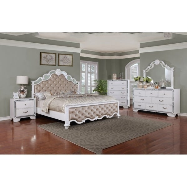 Shop best quality furniture glam white 4 piece bedroom set free shipping today for Quality white bedroom furniture