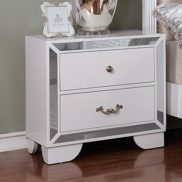Best Quality Furniture Glam White Wood Mirrored 2 Drawer Nightstand