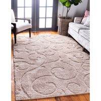 Unique Loom Carved Floral Shag Area Rug - 8' x 10'