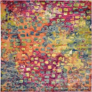 Turkish Multicolored/Green Abstract Square Rug (9'10 x 9'10)