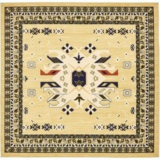 Heriz Grey and Blue Floral Square Rug (8' x 8')