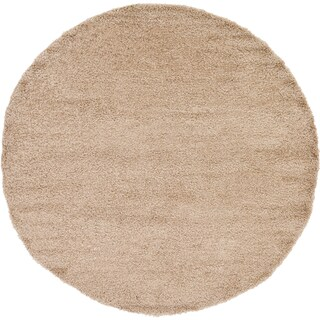 Unique Loom Solid Shag Round Rug - 8' 2 x 8' 2 (Option: Taupe)