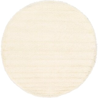 Unique Loom Solid Shag Round Rug - 8' 2 x 8' 2 (Option: Snow White)