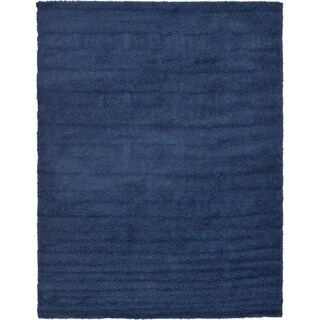 Unique Loom Solid Shag Area Rug - 9' x 12' (Option: Navy Blue)