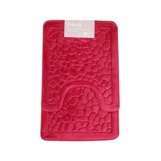 Verno Memory Foam Short Pile Stone Pattern Bath & Contour Rug 2 pc set