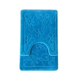 Verno Memory Foam Short Pile Floral Bath & Contour Rug 2 pc set