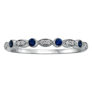 14K White Gold 1/5 carat Blue Sapphire and Diamonds Vintage Inspired Art Deco Band Ring