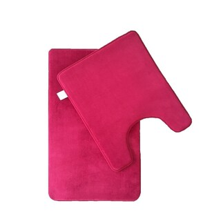 Verno Memory Foam Short Pile Solid Color Bath & Contour Rug 2 pc set
