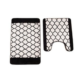 Verno Memory Foam High Pile Geometric Bath & Contour Rug 2 pc set