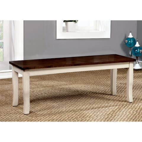 Furniture of America Quat Country Solid Wood Rectangular Dining Bench