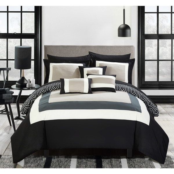 Superieur Chic Home Heldin 10 Piece Black Reversible Hotel Collection Comforter Set  Bed In A Bag